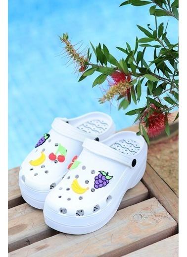 Pembe Potin A246-19Beyaz eva Beyaz Kadın Sandalet A246-19 Beyaz